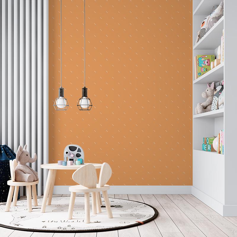 Bílé čárky na oranžové
