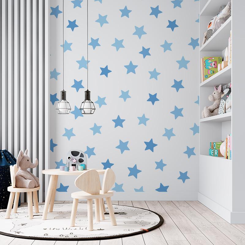 Modré hvězdy na bílé