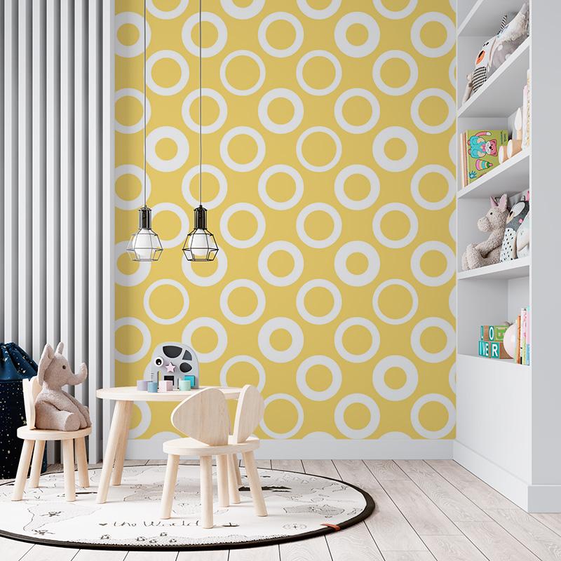Bílé kruhy na žluté