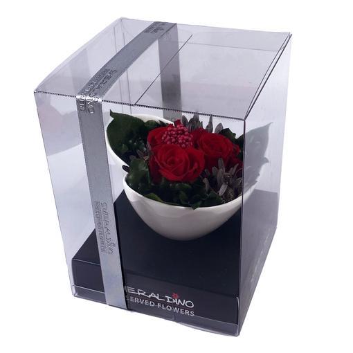 Růže červené 3 kusy s aranže - dlouhotrvající