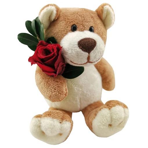 Plyšový medvídek s dlouhotrvající růží