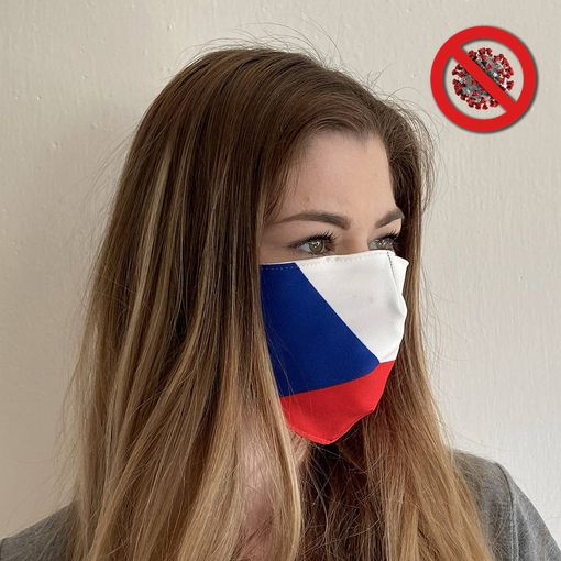 Rouška s motivem české vlajky - DVOUVRSTVÁ
