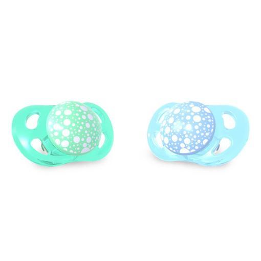 Dudlík mini 0-6m - 2ks zelená/modrá
