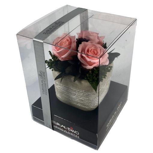 Růže růžové 3 kusy s aranže - dlouhotrvající