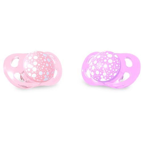 Dudlík mini 0-6m - 2ks růžová/fialová